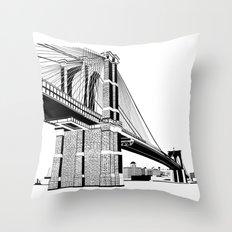 Brooklyn Bridge Black and White Throw Pillow