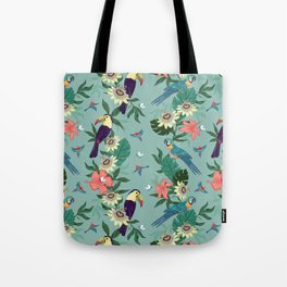 Toucans and Parrots in the Passion Flowers Tote Bag