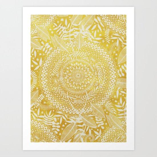 Medallion Pattern in Mustard and Cream Art Print