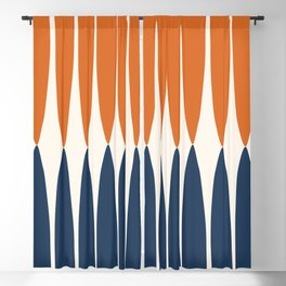 Abstract Shapes 106 Pattern in vintage Orange and Navy Blue  Blackout Curtain