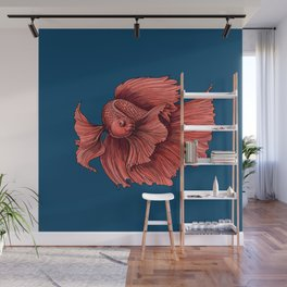 Coral Siamese fighting fish Wall Mural