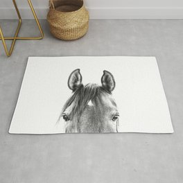peekaboo horse, bw horse print, horse photo, equestrian print, equestrian photo, equestrian decor Rug