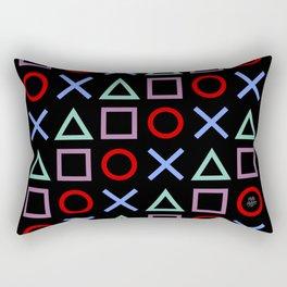Gamer Pattern (color on black) Rectangular Pillow