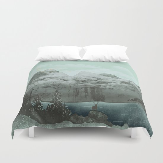 The Mountain Lake (Green) Duvet Cover
