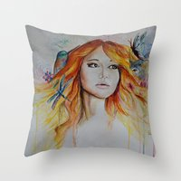 jennifer lawrence Throw Pillows featuring Jennifer Lawrence Watercolor (Light) by Halinka H