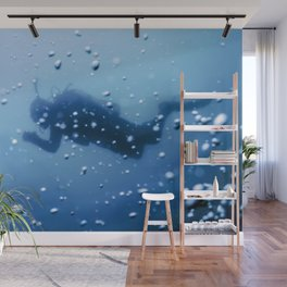 Scuba Diver Swimming on a Blue Water Air Bubbles Wall Mural