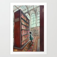 Exploring the Library Art Print