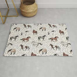 Horses and Dots, Vintage Texture, Wild horses, Hand-painted, Organic Dots, Watercolor Rug