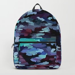 Foliage Abstract Camouflage In Aqua Blue and Black Backpack