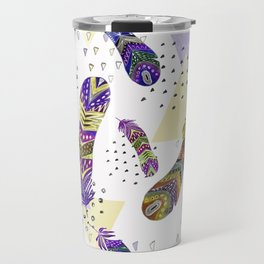 Abstract pattern with feathers 1. Travel Mug