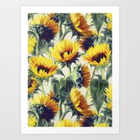 yellow Art Prints featuring Sunflowers Forever by micklyn