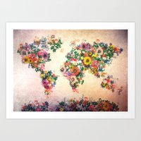 map of the world Art Prints featuring world map by Bekim ART