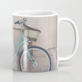 a mint green bicycle on the streets of Paris. Coffee Mug