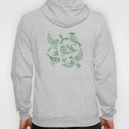 Winter Birds and Foliage Pattern (Green) Hoody