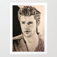 wesley bird Art Prints featuring Paul Wesley by vanessa