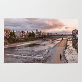 Evening walk along the Kamo River in Kyoto Rug