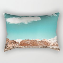 Vintage Red Rocks // Snow in the Mojave Desert Clouds Teal Sky Mountain Range Landscape Rectangular Pillow