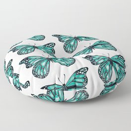 Turquoise Butterfly Floor Pillow