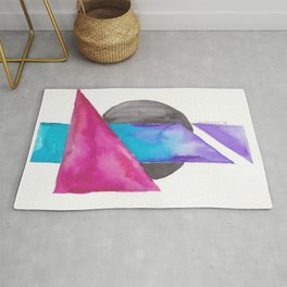 180818 Geometrical Watercolour| Colorful Abstract | Modern Watercolor Art Rug