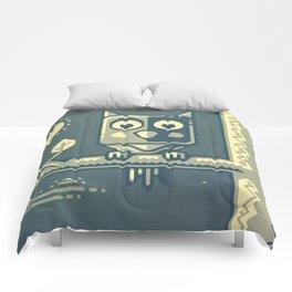 Night owl graphic design Comforters