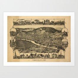 Vintage Map of Corning New York (1882) Art Print
