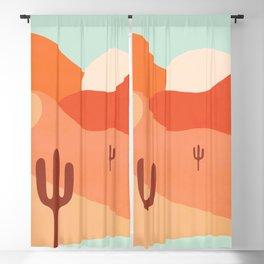 Sunny Desert Cactus Sunset 2a Aqua and Peach Blackout Curtain
