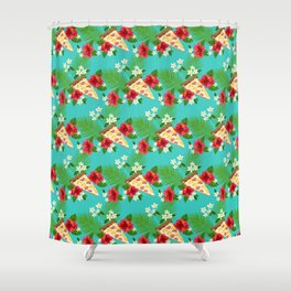 Hawaiian Pizza in a Hawaiian Print Shower Curtain