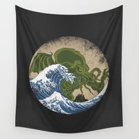 cthulhu Wall Tapestries featuring Hokusai Cthulhu by Marco Mottura - Mdk7