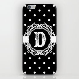 Black Monogram: Letter D iPhone Skin