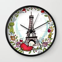 cooking Wall Clocks featuring French Cooking by Grace Anderson