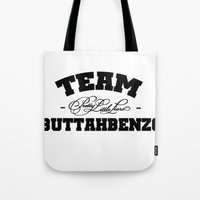 pretty little liars Tote Bags featuring Team Buttahbenzo - Pretty Little Liars (PLL) by swiftstore