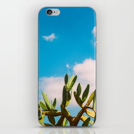 Beautiful Vintage Photo Green Cactus With Blue Sky White Cloud iPhone Skin