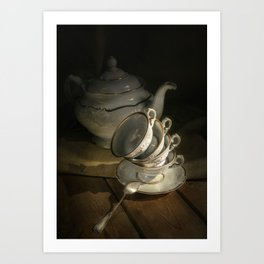 Still life with teapot and set of teacups Art Print