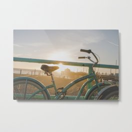 Bike & Beach in Sunny Manhattan Beach, California Metal Print