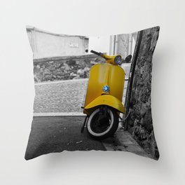 Yellow Vespa in Old Town Cannes Black and White Photography Throw Pillow