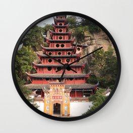 Shi Bao Zhai Buddhish temple Pagoda   Pagode Temple Buddhish Wall Clock