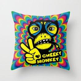 Hippie Trippy Cheeky Monkey Throw Pillow