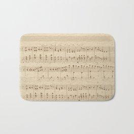 vintage beige music notes Bath Mat