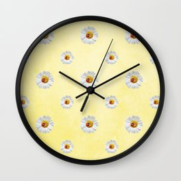 Daisies in love- Yellow Daisy Flower Floral pattern with Ladybug Wall Clock