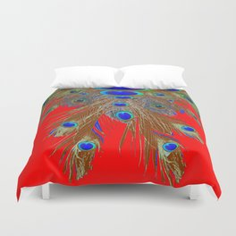 DECORATIVE  RED GREEN BLUE PEACOCK FEATHER JEWELS Duvet Cover