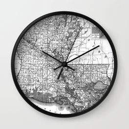Vintage Map of Louisiana (1896) BW Wall Clock