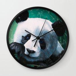 Panda - A little peckish - by LiliFlore Wall Clock