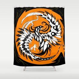 mayan phoenix on fire ecopop Shower Curtain