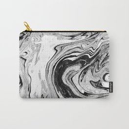 Masuki - black and white minimal spilled ink marbled paper marble texture marbling marble painting Carry-All Pouch