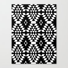 Aztec Inspired Pattern White & Black Canvas Print