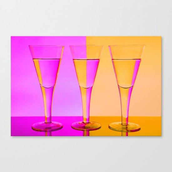 Three Coloured / Colored Wine Glasses  Canvas Print