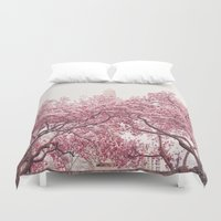 central park Duvet Covers featuring Central Park - Cherry Blossoms by Vivienne Gucwa