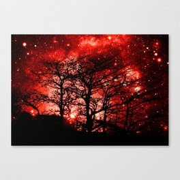 black trees red space Canvas Print