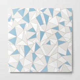 Ab Nude Lines with Blue Blocks Metal Print