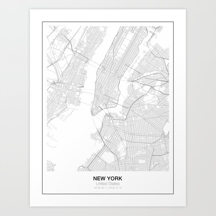 New York United States Minimalist Map Art Print By Resfeber Society6
